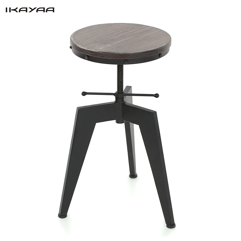 Ikayaa Natural Pine Wood Top Swivel Kitchen Dining Sitting Chair 15cm Height Adjustable Industrial Simple Stylish Bar Stool