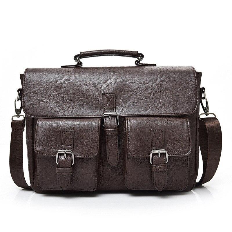 Men's Briefcase High Quality Leather Laptop Bag Men Large Capacity Portfolio Handbag Business Messenger Male Bag Maletin