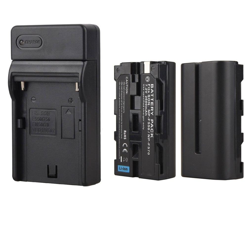 2 pcs 2600 mah NP F550 NP F570 Rechargeable Caméra Vidéo Batterie Pour Sony NP-F550 NP-F570 Numérique Batteria Batteries + chargeur