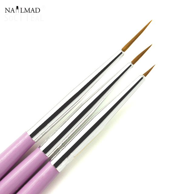 3pcs Set Finer Nail Brush Liner Brushes Drawing Design Salon Tools