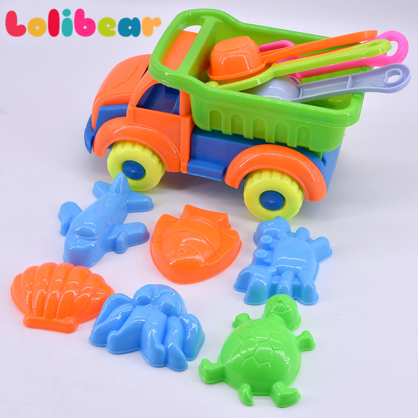11Pcs/Set Kids Beach Toy Plastic Summer Sands Bucket Spade Animal Mold Tools Playing Truck Sand Dredging Toys For Children Gift