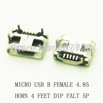 10pcs/lot B type phone tail charing connector USB jack female socket 4.85 horn Micro USB connector 5P DIP FLAT MOUTH 10pcs lot micro usb connector jack