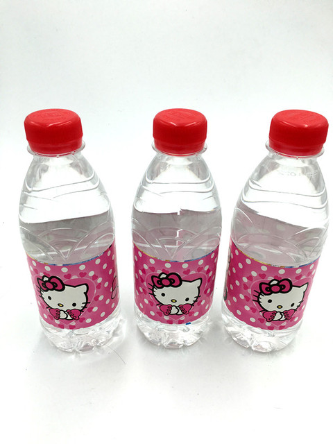 6pcs Lot Hello Kitty Water Label Sticker Baby Shower Party Supplies Kids Birthday