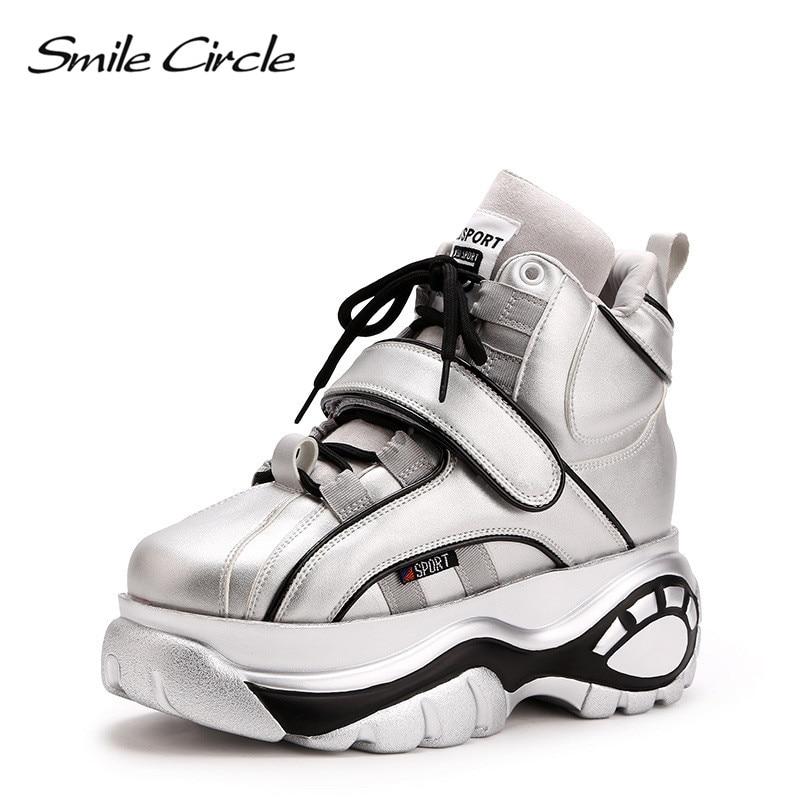 Улыбка круг Коренастый кроссовки Для женщин модная обувь на шнуровке с высоким берцем без каблука обувь на платформе для Для женщин на толс...