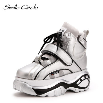Smile Circle chunky Sneakers Women fashion Lace-up High-top Flat platform shoes For Women Thick bottom Wedge sneakers