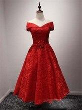 Fashion Red Schulterfrei Cocktail Prom Kleider 2016 Sexy V-ausschnitt Kurze Spitze Pageant Formale Kleid Mit Perlen Blume Taille