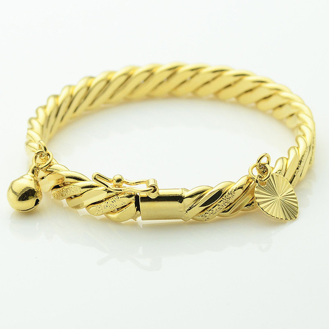 1pcs Trendy Baby Sweetheart Kids Gold Jewelry Yellow Gold Color