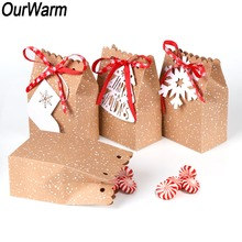 OurWarm 4Pcs Kraft Paper Bag for Gifts Party Favor Cookie Candy Packaging Gift Wrap New Year Christmas Decoration Home