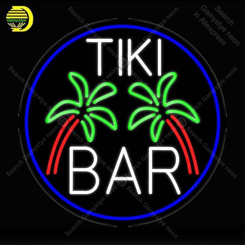 Enseigne au néon pour Tiki Bar palmier ovale avec bordure néon ampoules enseignes lampe verre Tube décor chambre mur Club chambre artisanat bière Bar