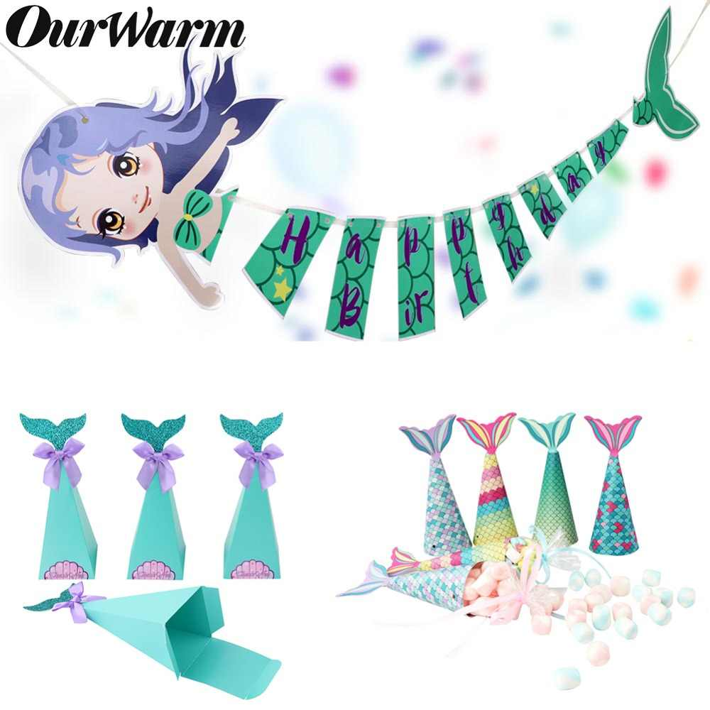 OurWarm Mermaid Gift Boxes Little Mermaid Party Supplies Birthday Gifts Mermaid Favor Bag Banner Bracelet Baby Shower Candy Box