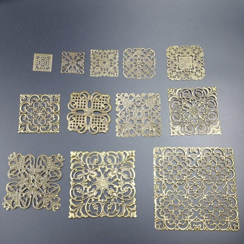 O quadrado de filigrana envolve conectores embelezar descobertas envolve conectores para fazer jóias diy