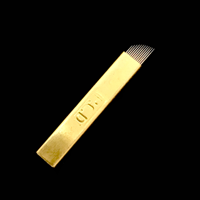 50 pcs PCD Hard 12 Pin Permanent Makeup Eyebrow Tattoo Blade Golden Microblading Needles for 3D Embroidery Manual Tattoo Pen in Tattoo Needles from Beauty Health