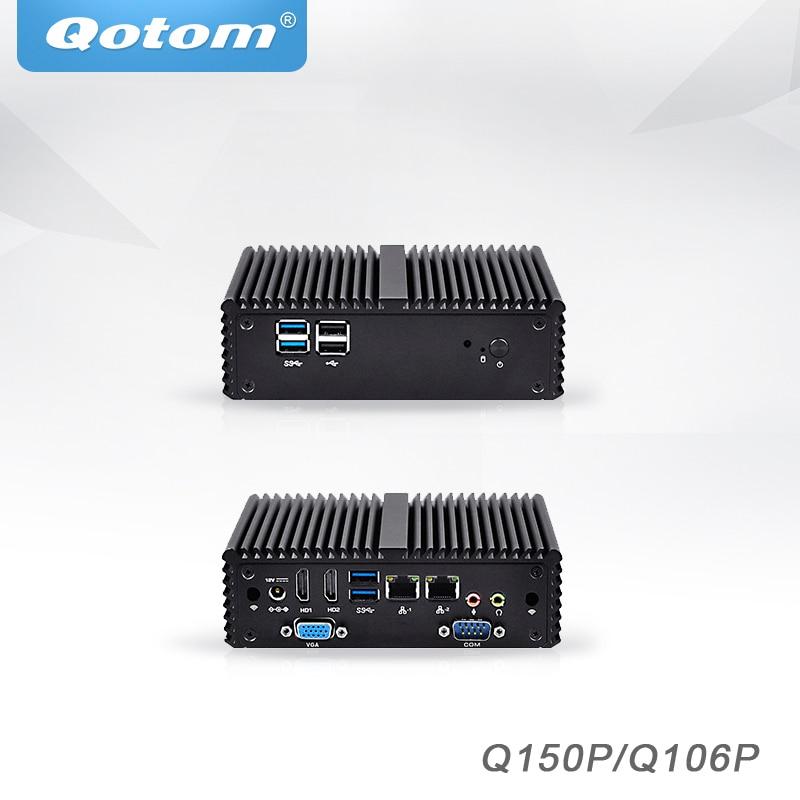 Qotom Mini PC Barebone Celeron j3160 j3060 micro desktop Computer linux Ubuntu PC AES NI Fanless