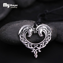 My shape fantasy Celtics Horse Lords Necklace Antique Silver/Bronze Horse Heart necklace Pendant for women mom gifts animal(China)