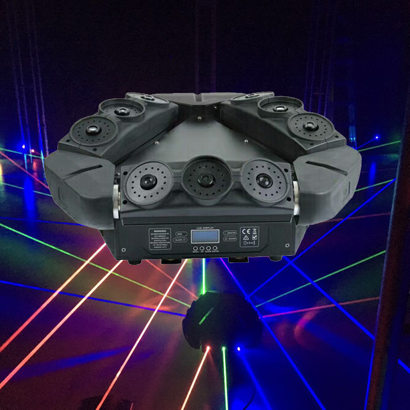 Professional RGB Laser Spider Lights Moving Head Laser Light Triangle Spider Moving Head DMX512 Control DJ Stage Laser Lighting