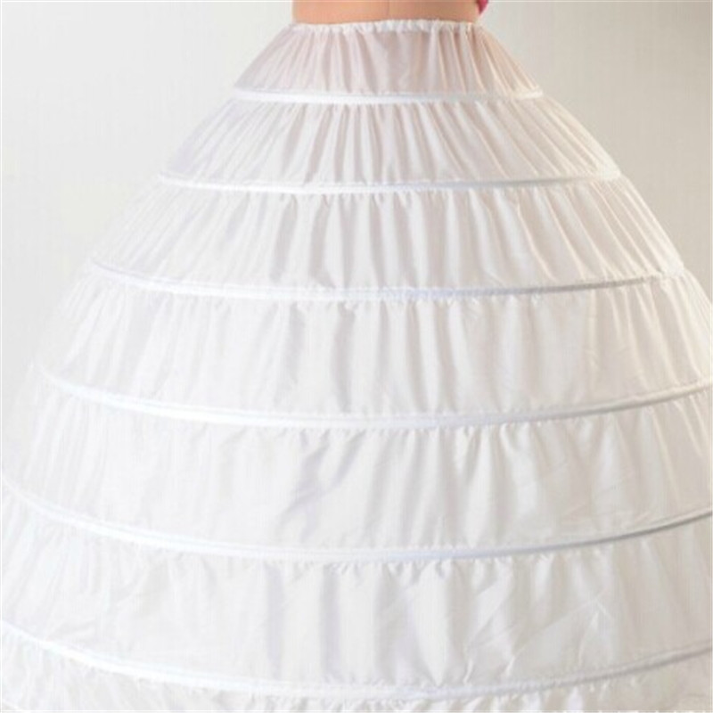 6-Hoop Petticoat Underskirt Crinoline Ball-Gown Wedding-Dress 110cm-Diameter for Lace-Edge title=