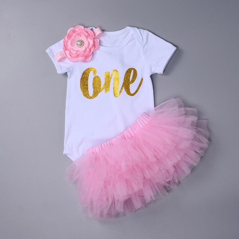 Moda Bebê Menina conjunto de roupas Bodysuit jumpsuit set Algodão Romper + 6 camada tutu saia Headbands Infantil Primeiro Aniversário Roupas terno