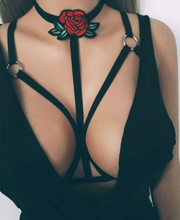 bikini breast bra chain long necklace women bohemian body jewelry collier bijoux femme rose flower neckalce