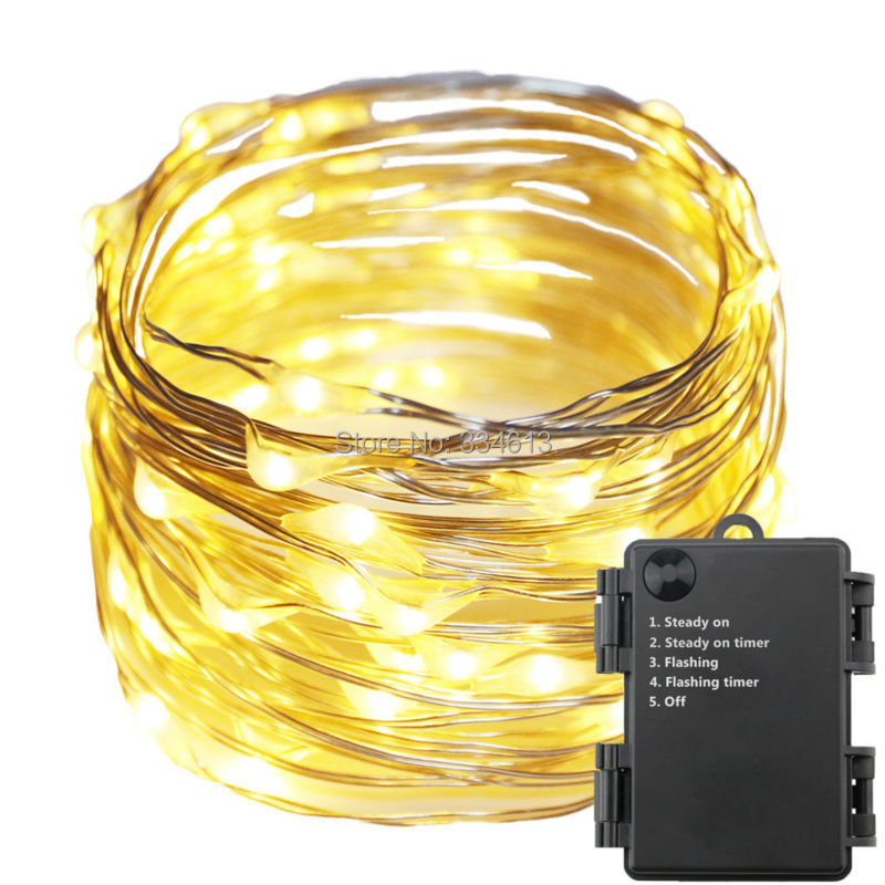 1/3/5pcs 6AA Battery Operated Indoor Outdoor 10M/33Ft 100 LED Waterproof Silver Wire Starry String Rope Lights with Timer Flash ...