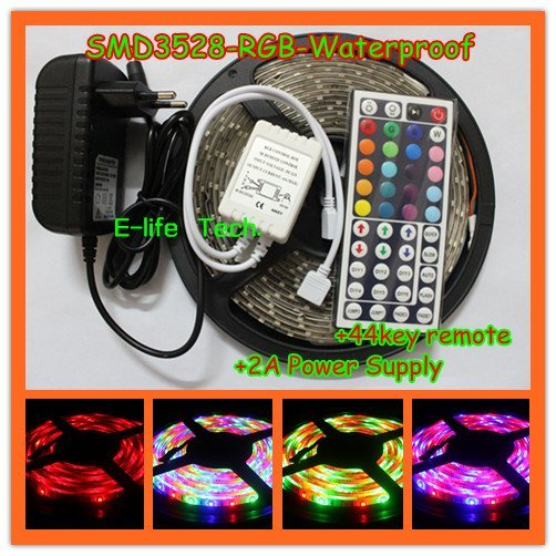Free Shipping 5m/piece RGB SMD3528 Flexible Waterproof Led Strip Light  +44Key Remote+2A Power Supply for Holiday/Car/Decoration