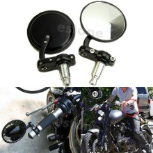 Black Motorcycle 3Round 7/8Handle Bar End Rearview Mirrors For Honda Harley G6KC