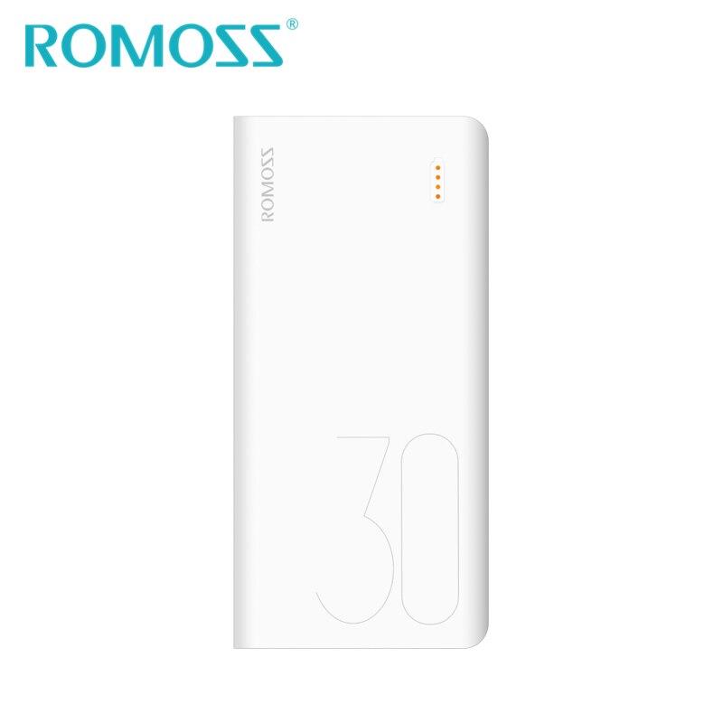 ROMOSS Sense8 Power Bank 30000mAh External Battery Backup Power Support Lightning Type c Input 2 USB Output for Android iPhone