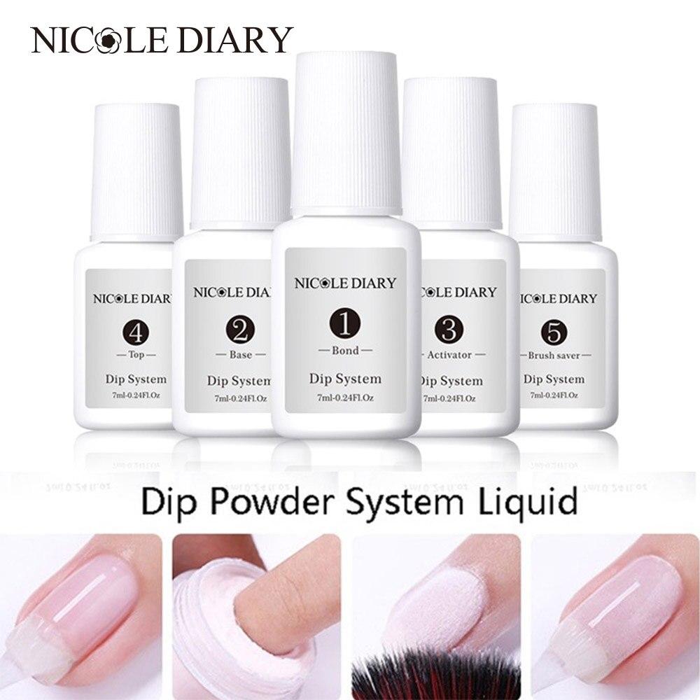 Nicole diary pó para unhas, kit para iniciante de unhas com mergulho para mergulho, sem odor, uv sistema líquido, sistema líquido