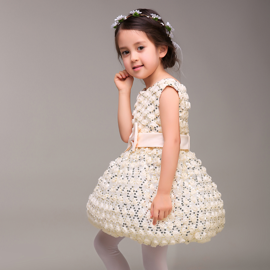 Children Flower Princess Girls Birthday Christmas and New Year Party Dress Kids Clothing 3 Colour купить дешево онлайн