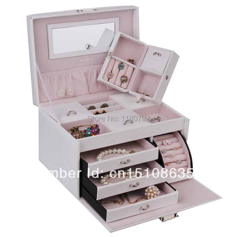 [ROWLING] Large White Jewelry Box Earring Ring Necklace Organizer Watch  Storage Case With Travel Case ZG150 In Jewelry Packaging U0026 Display From  Jewelry ...
