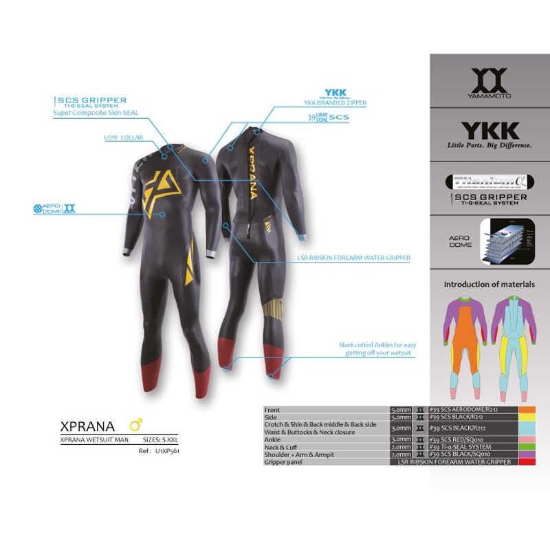 Traje de surf de Triatlón de 5/3mm Xprana de manga completa de neopreno Yamamoto para natación de agua abierta Ironman