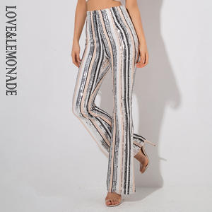 Love Lemonade Color Stripes Sequins High Waist Pants