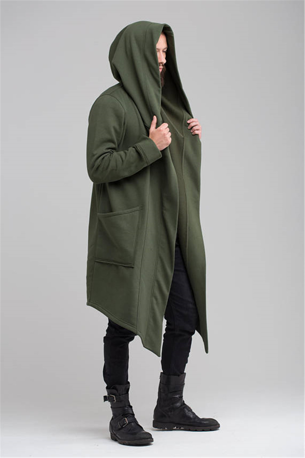 Trench Coat Mens Jacket Spring Autumn Cardigan Punk korean Trench Coat Men Long