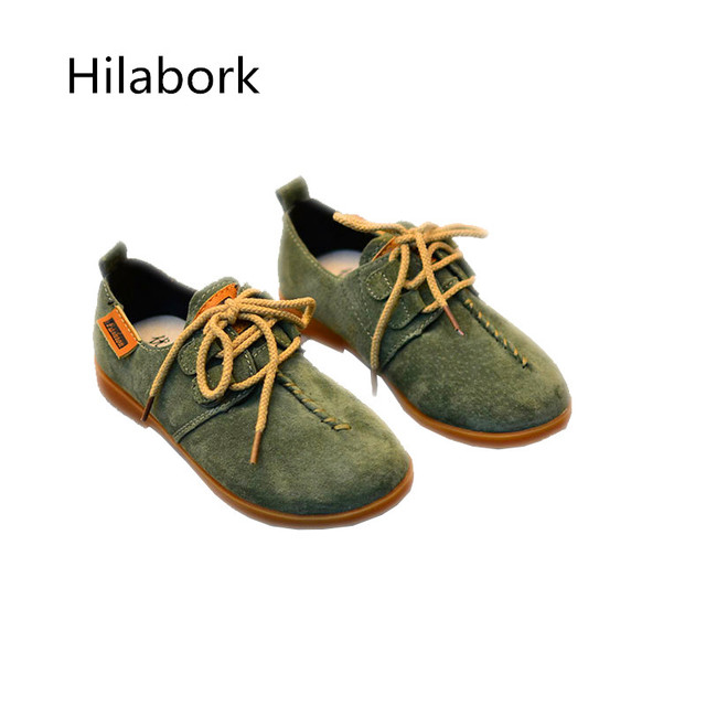 Children's leather shoes 2017 spring new leather shoes with lace leather girls casual shoes retro tide boy size 26-30