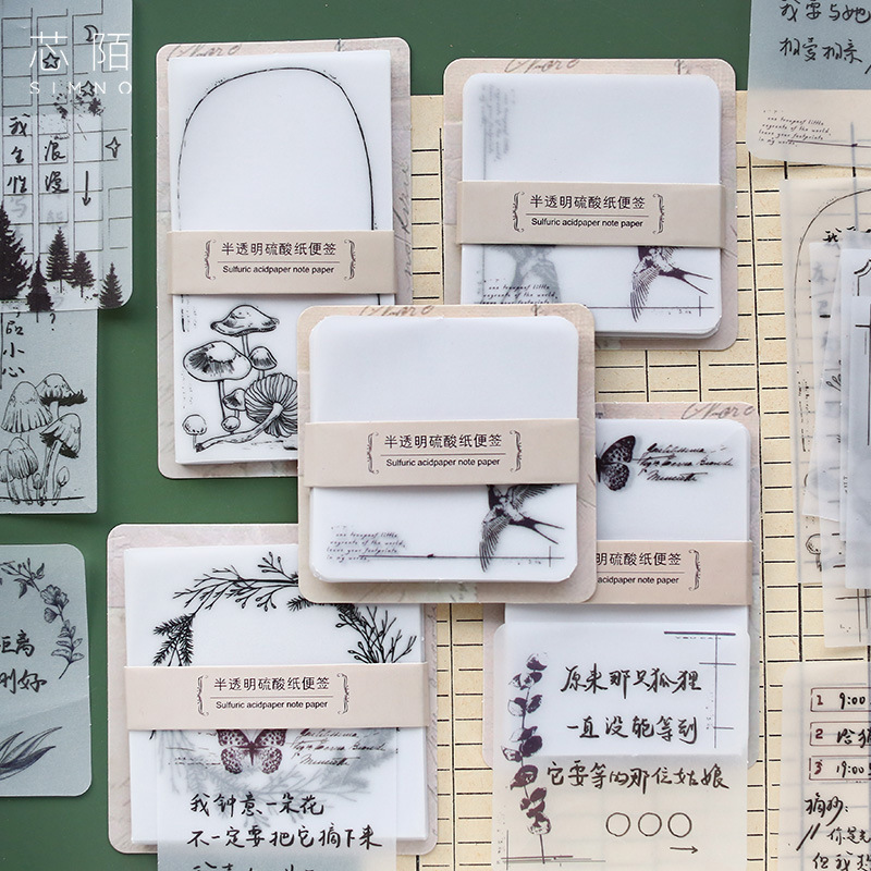 Plant Butterfly Butter Paper Memo Pad Transparent Notes Memo Notepad School Office Supply Escolar Papelaria Gift Stationery