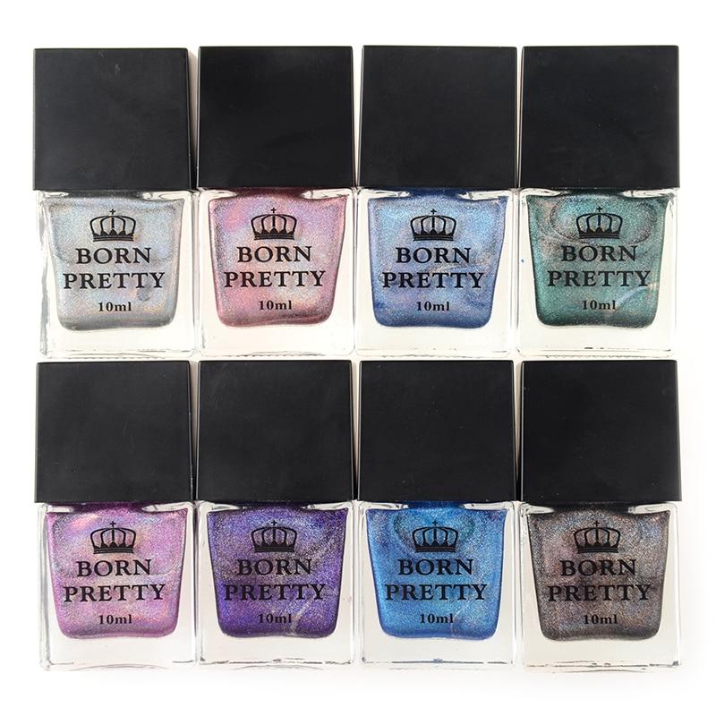 BORN PRETTY 10ml Holographic Nail Polish High Ingredients Super Shine Holo Nail Art Vanish Polish Shine In The Dark Hologram