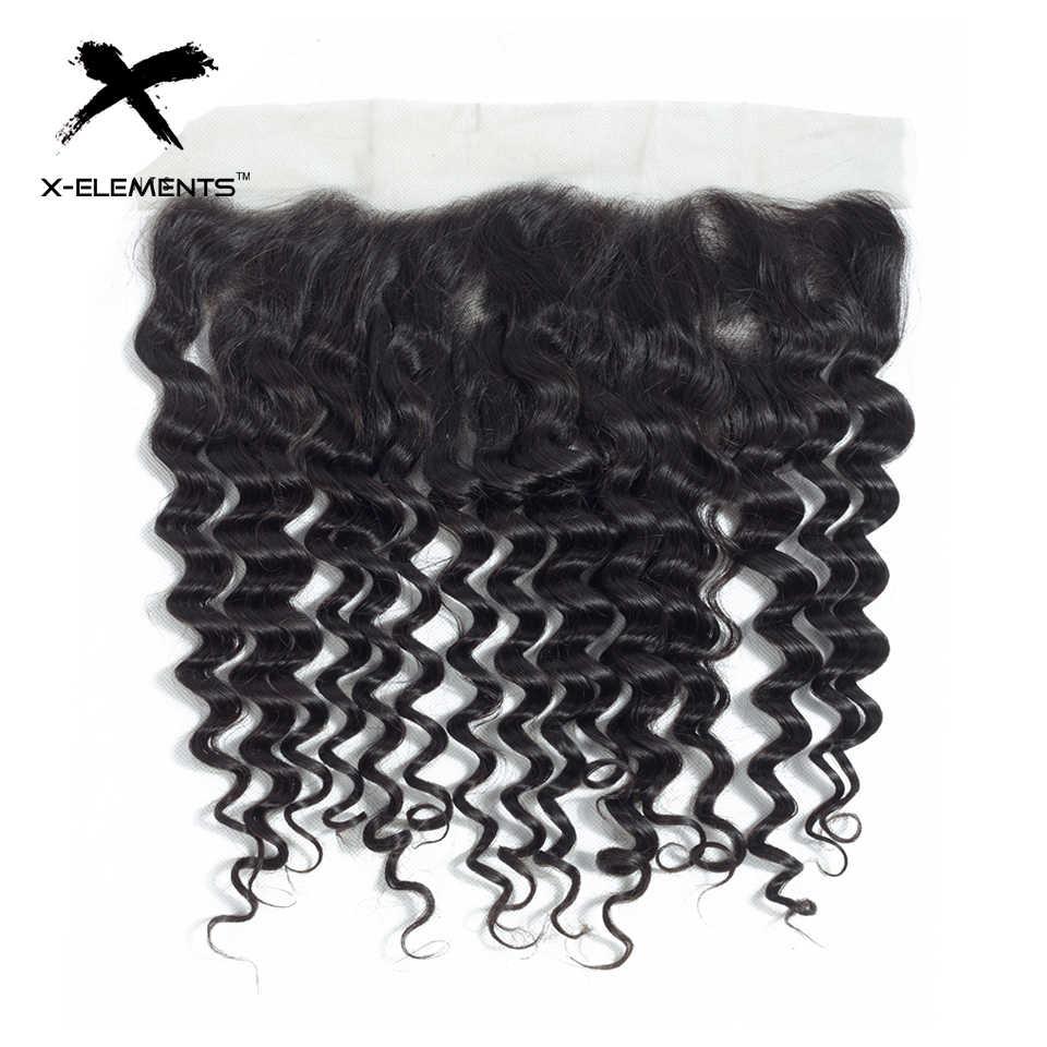 X-Elements Бразильские глубокие волнистые фронтальные 100% человеческие волосы 13x4 фронтальные кружевные глубокие волны не Реми натуральный цвет ручная завязывающаяся кружевная фронтальная
