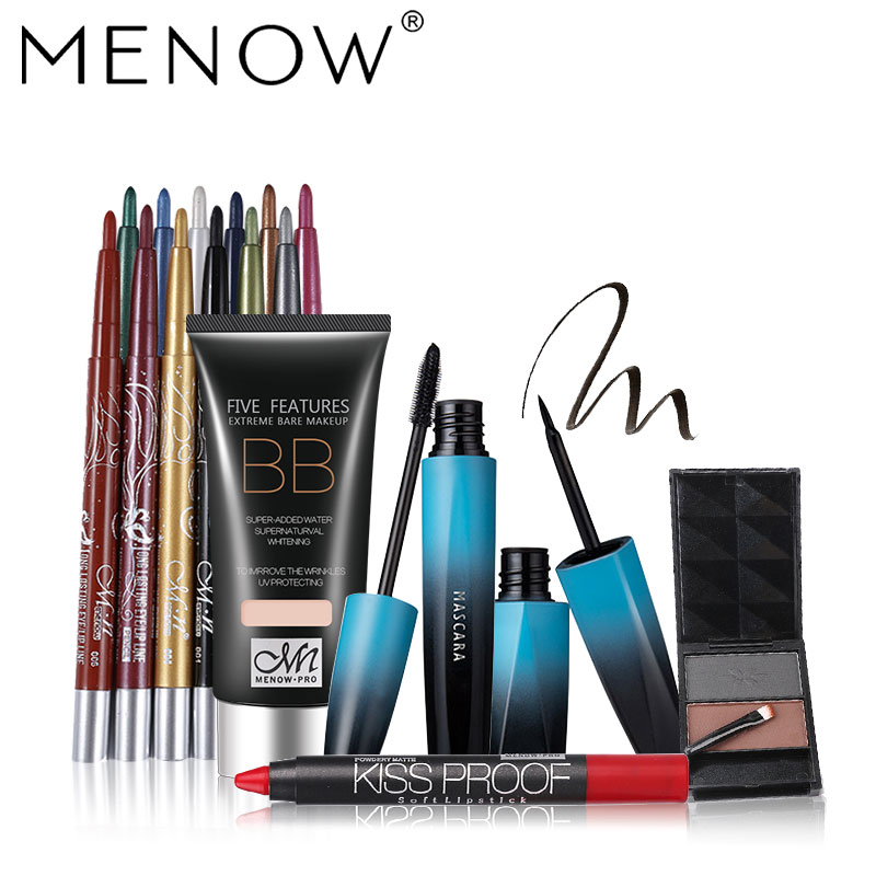 MENOW 5pcs Makeup set Whitening BB cream &12 Colors Eye shadow &Waterproof Mascara Eyeliner kit &Matte lipstick &Eyebrow 5464
