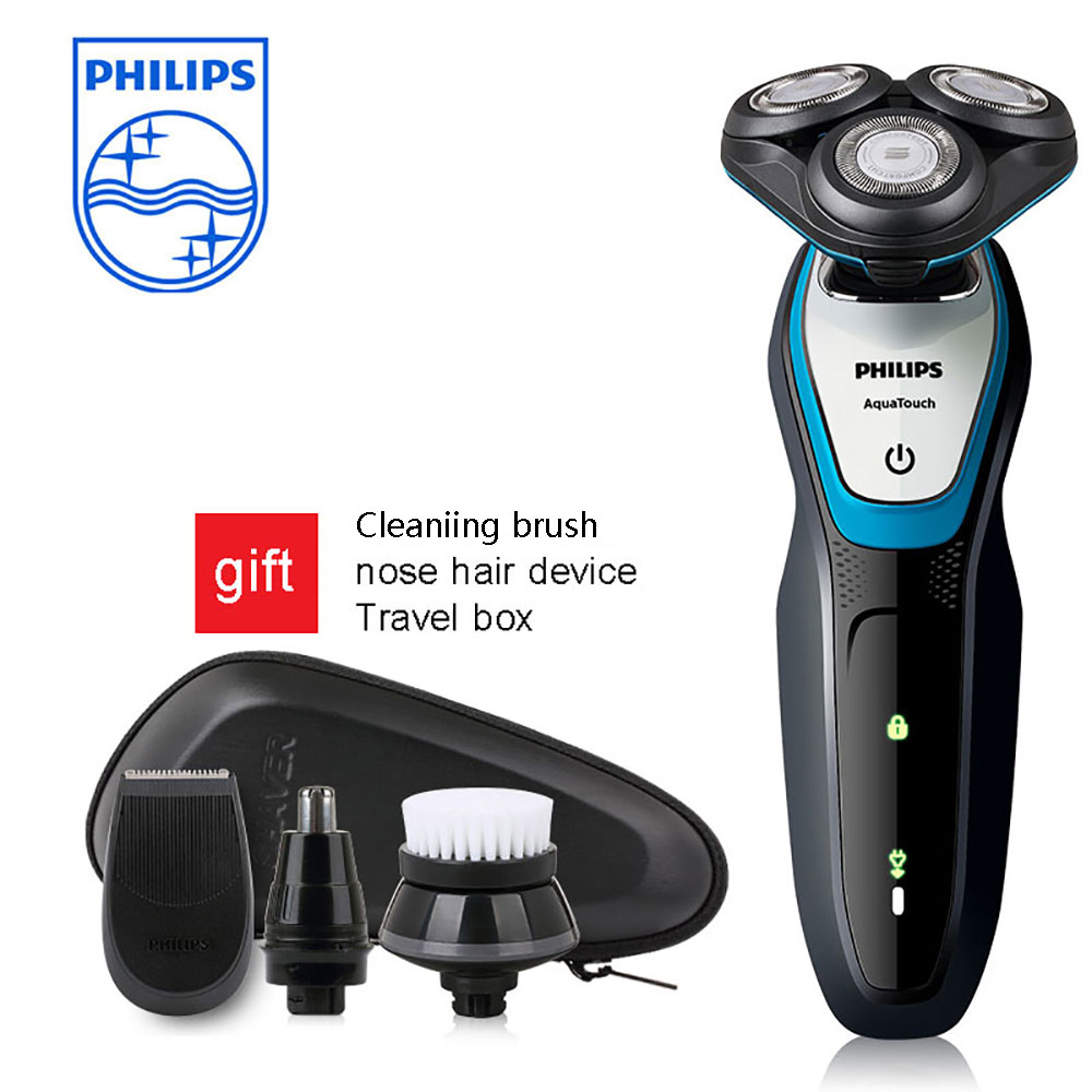 Philips Face Shaver S5070/04 Aquatouch Electric Shaver 40 Min Cordless Use/1h Charge With ComfortCut Blade System Led Display