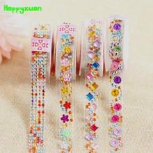Happyxuan 4pcs/lot Crystal Diamond Stickers Tape Sheets DIY Hand Craft Materials Scrapbook Album Photo frame Decoration
