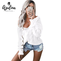 AZULINA Brief V Neck Oversize Knitted Sweater Pullover Women 2017 Autumn Winter Drop Shoulder Loose White