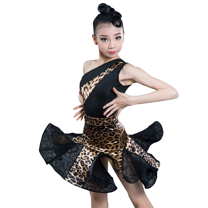 New Latin Dance Costume For Girls Ballroom Salsa Tango Skirts Kid Child Leopard Latin Dance Split Dress With Leotard And Skirt
