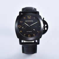 44MM watch Parnis automatic movement men's clock black PVD stainless steel case military leather strap 415-4