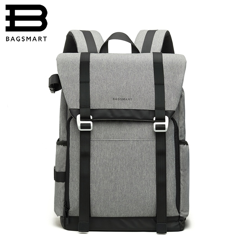 BAGSMART New DSLR Camera Backpack Retro Camera Bag Grey Travel Camera Backpack Photography Bag with Padded Custom Dividers bagsmart dslr slr camera shoulder bag water repellent polyester with rain cover green grey black