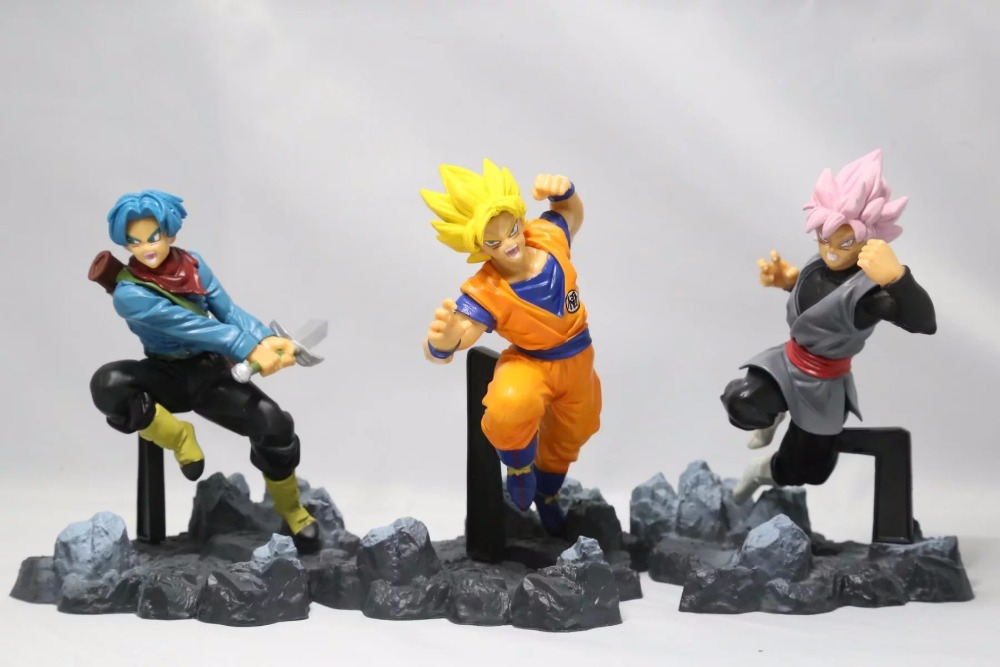 Anime Dragon Ball Z Super Saiyan Son Goku Trunks Son Goku Black PVC Action Figures Kids Toys Doll 13CM 3pcs/set  new goku 14cm vegeta goku trunks dragon ball z resurrection f super saiyan god comics pvc action figures toy for kids