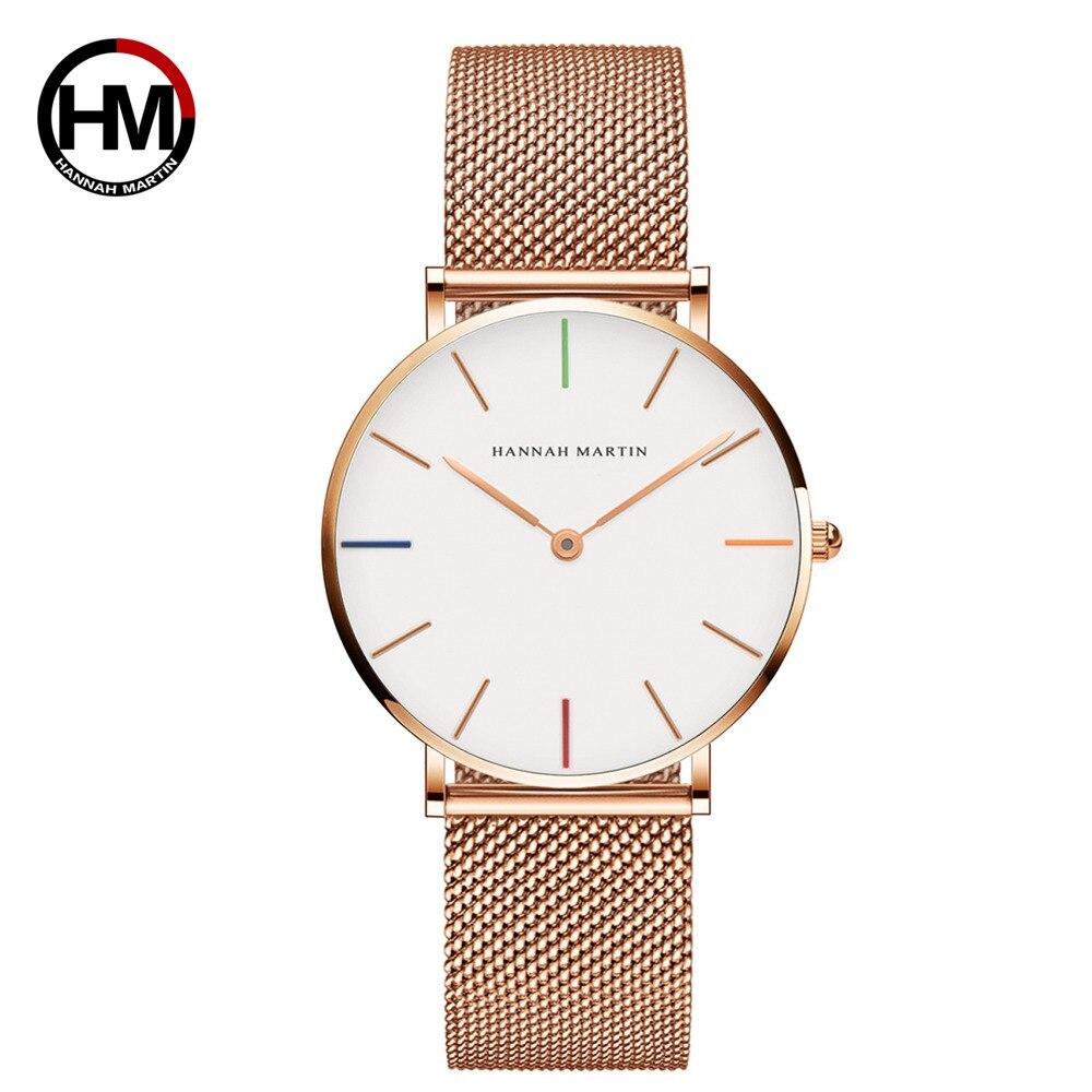Japón movimiento de cuarzo reloj de oro rosa 36mm impermeable hannah Martin relojes mujer Acero inoxidable malla reloj Dropshipping