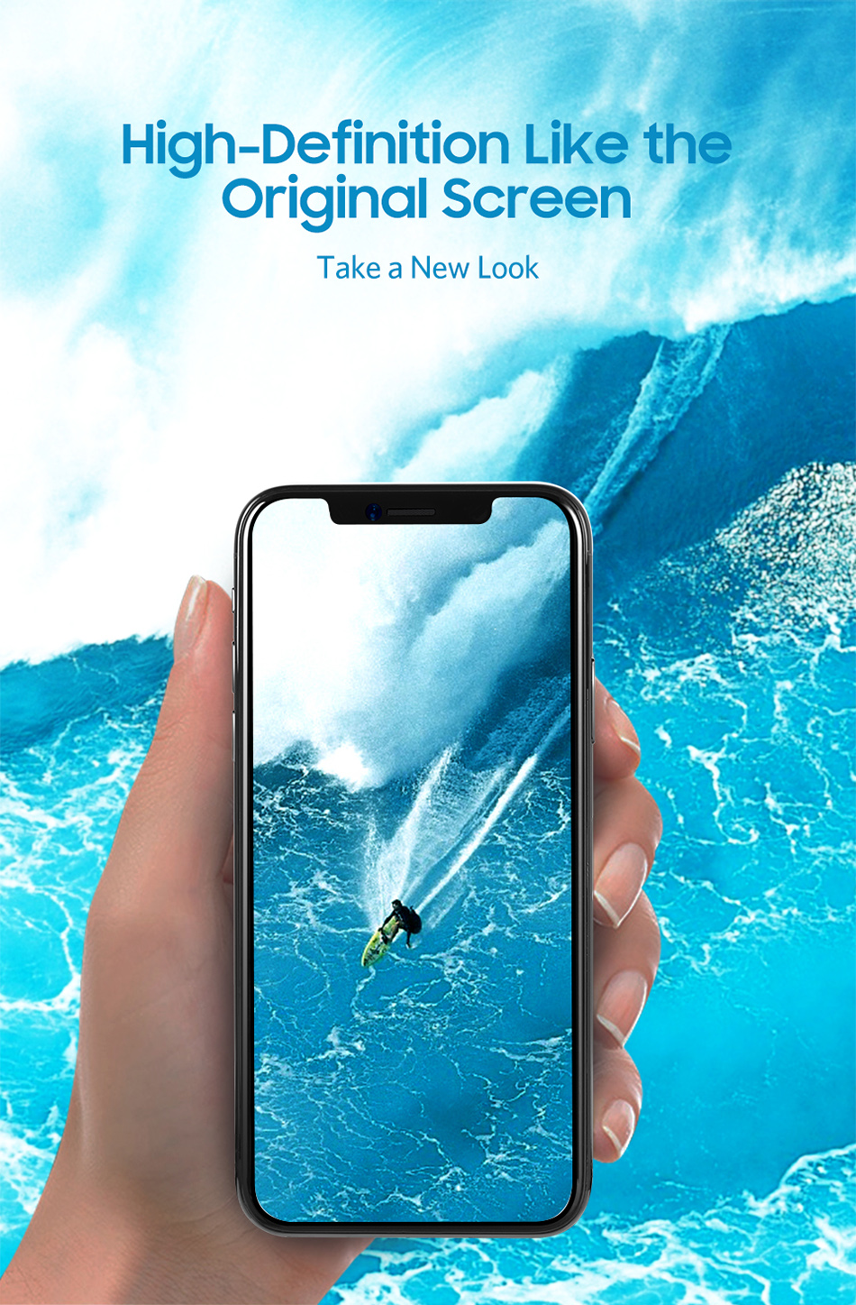 Benks Thin 0.15mm Tempered Glass For iPhone XS 5.8'' XS MAX 6.5'' XR 6.1HD Full Cover Screen Protector Anti Blue Ray Front Film (3)