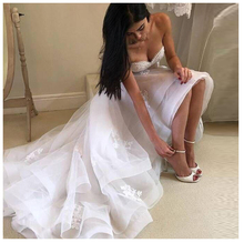 LORIE High/Low Wedding Dress Sweetheart Appliqued Lace Tulle Backless Boho Bride Gown Strapless