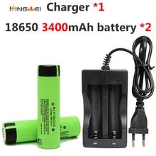 2 unids/lote kingwei 3400 mah 18650 3.7 v para panasonic batería recargable + cargador doble 1×18650 para la linterna linterna juguetes