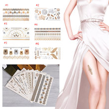 Hot Temporary tattoo Gold/Silver Leaf Flower tattoos Metallic Sex Products jewelry Henna Tatouage Body art tatto stickers(China)