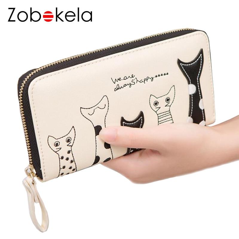 ZOBOKELA PU leather wallet female zipper purse women wallet card holder women coin purse designer clutch female cat anime wallet
